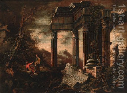 Figures resting before a classical ruin by (after) Rosa, Salvator - Reproduction Oil Painting