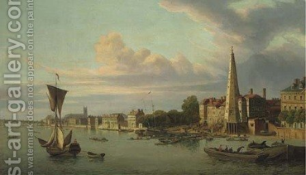 The York buildings waterworks looking towards Westminster by (after) Samuel Scott - Reproduction Oil Painting
