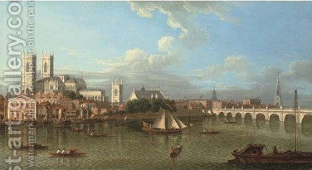 View of Westminster from Lambeth, across the River Thames by (after) Samuel Scott - Reproduction Oil Painting