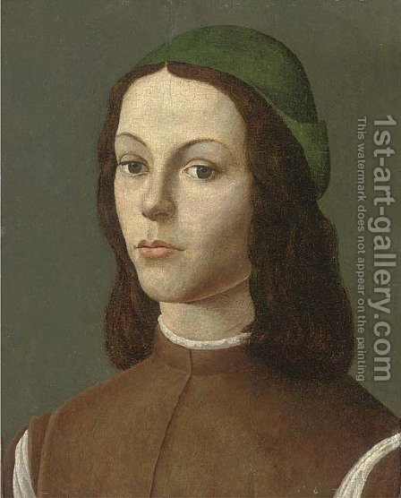 Portrait of a youth by (after) Sandro Botticelli (Alessandro Filipepi) - Reproduction Oil Painting