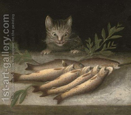 A table of dead fish with a cat looking on by (after) Sebastien Stoskopff - Reproduction Oil Painting