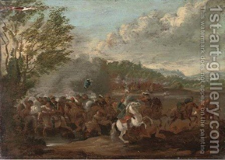 A cavalry battle by (after) Sebastian Vrancx - Reproduction Oil Painting