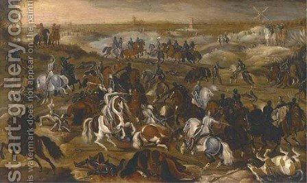 The Battle between Officers Breaute and Gerard Abrahamsz., called Lekkerbeetje, at Vught, 5 February 1600 2 by (after) Sebastian Vrancx - Reproduction Oil Painting