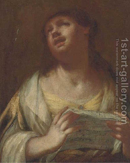 A lady singing by (after) Sebastiano Mazzoni - Reproduction Oil Painting