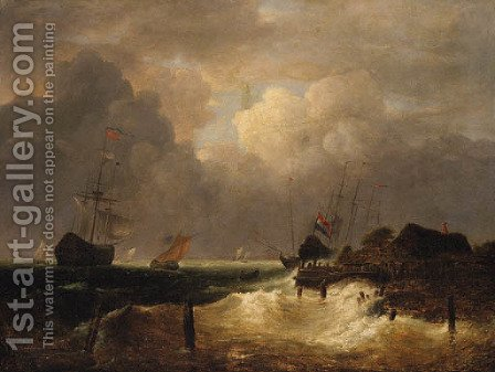 A coastal Landscape with Dutch Frigates in a Swell offshore by (after) Simon De Vlieger - Reproduction Oil Painting