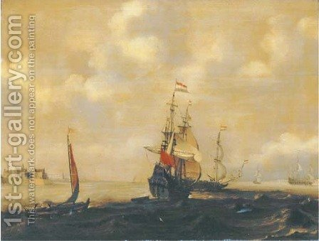 A Dutch three-master and other shipping in a breeze, a city in the distance by (after) Simon De Vlieger - Reproduction Oil Painting