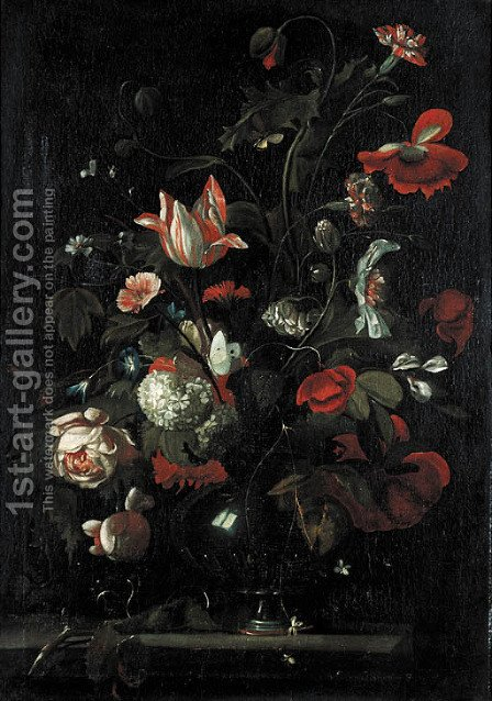Roses, tulips, carnations and other flowers in a glass vas on a stone ledge by (after) Simon Pietersz. Verelst - Reproduction Oil Painting