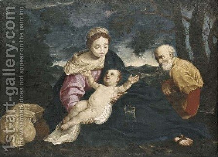 The Rest on the Flight into Egypt by (after) Simone Cantarini (Pesarese) - Reproduction Oil Painting