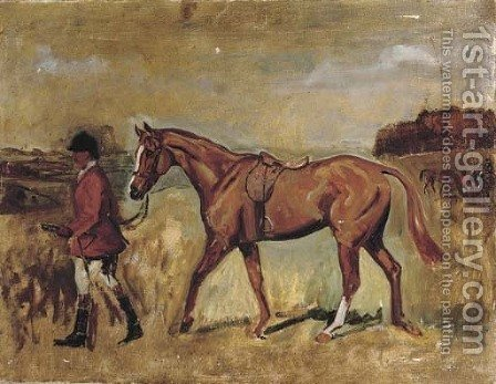A gentleman with his hunter in an extensive landscape by (after) Sir Alfred James Munnings - Reproduction Oil Painting