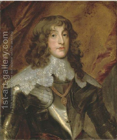 Portrait of a gentleman, traditionally identified as James Hamilton, 1st Duke of Hamilton (1606-1649), half-length, in armour, a draped curtain beyond by (after) Dyck, Sir Anthony van - Reproduction Oil Painting