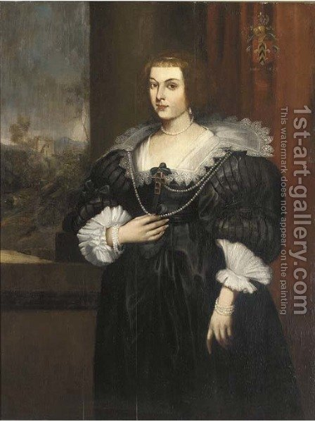 Portrait of a lady, three-quarter-length, in a black silk dress with a white lace collar and a pearl necklace with a crucifix by (after) Dyck, Sir Anthony van - Reproduction Oil Painting