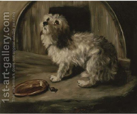 The penitent puppy by (after) Sir Edwin Henry Landseer - Reproduction Oil Painting