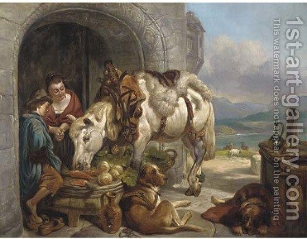 A lochside rest by (after) Landseer, Sir Edwin - Reproduction Oil Painting