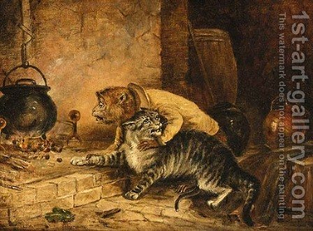 The cat's paw by (after) Landseer, Sir Edwin - Reproduction Oil Painting