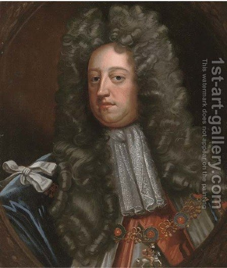 Portrait of a gentleman, bust-length, wearing the Order of the Garter, feigned oval by (after) Kneller, Sir Godfrey - Reproduction Oil Painting