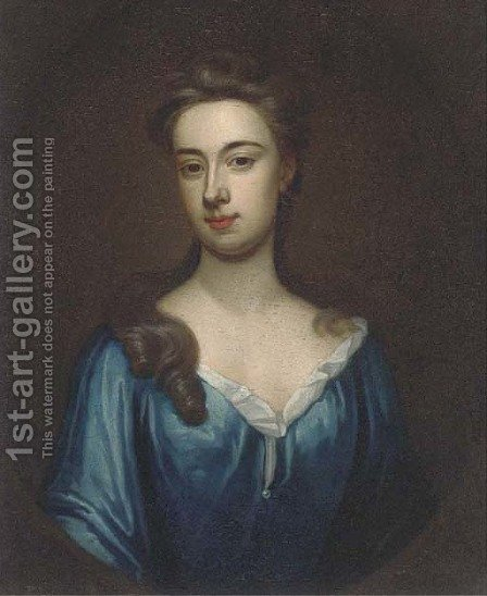 Portrait of a lady, bust-length, in a blue dress, in a feigned oval by (after) Kneller, Sir Godfrey - Reproduction Oil Painting