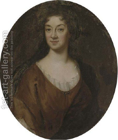 Portrait of a lady, bust-length, in a brown dress by (after) Kneller, Sir Godfrey - Reproduction Oil Painting