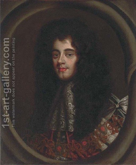 Portrait of Charles II (1630-1685), bust-length, in ceremonial robes and a lace jabot, feigned oval by (after) Kneller, Sir Godfrey - Reproduction Oil Painting