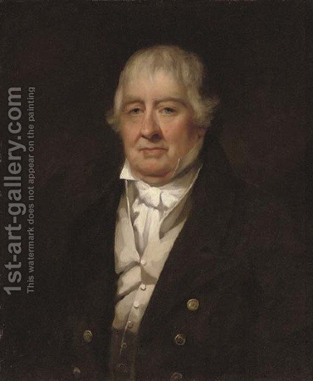 Portrait of a gentleman, half-length, in a brown coat and cream waistcoat by (after) Sir Henry Raeburn - Reproduction Oil Painting