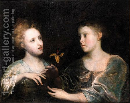 A double portrait of two young noblewomen, half lengths by (after) Sir Joshua Reynolds - Reproduction Oil Painting