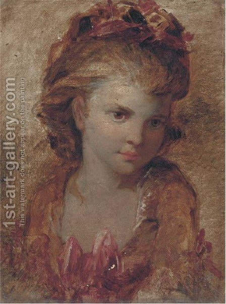 Portrait of a girl by (after) Sir Joshua Reynolds - Reproduction Oil Painting