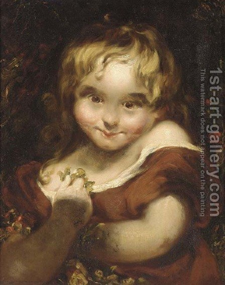 A young maiden by (after) Sir Joshua Reynolds - Reproduction Oil Painting