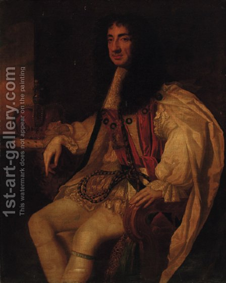 Portrait of Charles II (1630-1685) 2 by (after) Sir Peter Lely - Reproduction Oil Painting
