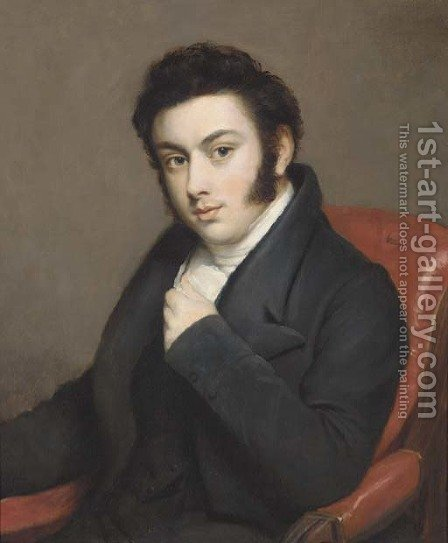 Portrait of a gentleman, seated bust-length, in a black jacket and white cravat by (after) Lawrence, Sir Thomas - Reproduction Oil Painting