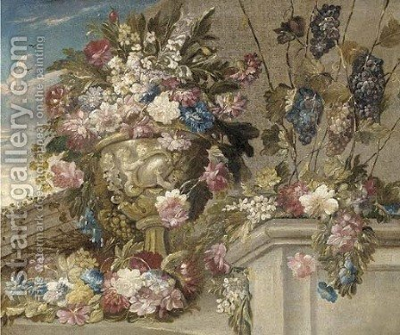 Flowers by (after) The Psuedo-Guardi - Reproduction Oil Painting