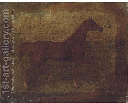A chestnut horse in a landscape; and A bridled bay horse in a stable by (after) Thomas Bardwell - Reproduction Oil Painting