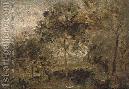 A wooded landscape by (after) Thomas Churchyard - Reproduction Oil Painting