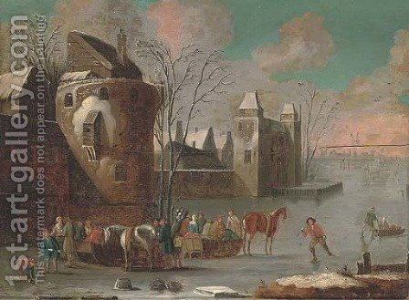 A frozen river landscape with skaters by a town by (after) Thomas Heeremans - Reproduction Oil Painting