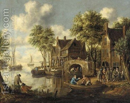 A river landscape with figures on a bridge and fishermen in boats by an inn by (after) Thomas Heeremans - Reproduction Oil Painting