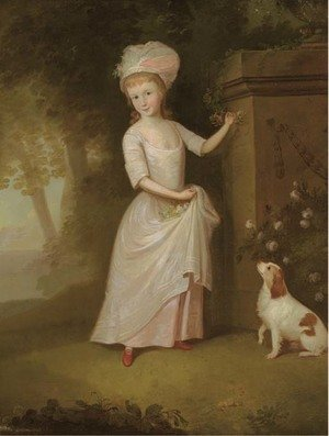 Portrait of a young girl, full-length, in a pink dress, in a garden, a spaniel by her side