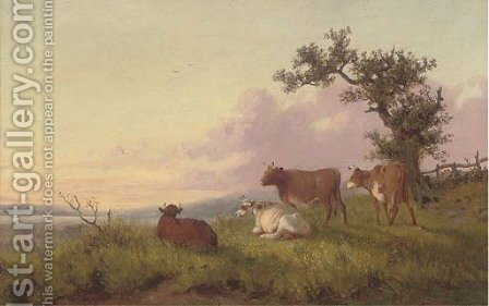 Cattle in a landscape, sunset by (after) Thomas Sidney Cooper - Reproduction Oil Painting