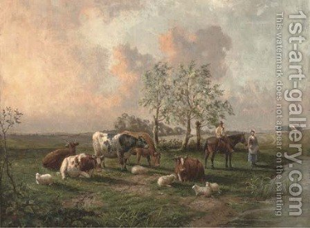 Figures with cattle and sheep in a landscape by (after) Thomas Sidney Cooper - Reproduction Oil Painting