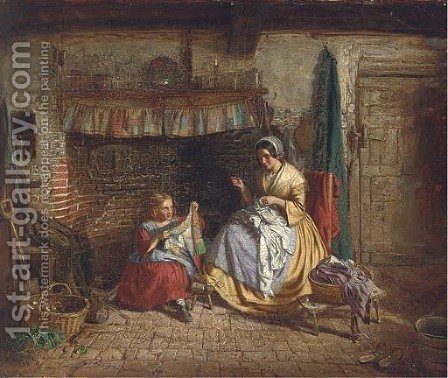 The sewing lesson by (after) Thomas Webster - Reproduction Oil Painting