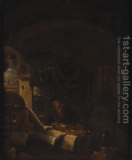 An Alchemist in his Study by (after) Thomas Wyck - Reproduction Oil Painting