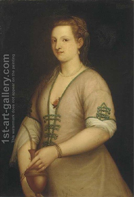 Portrait of a lady, three-quarter-length, holding an urn by (after) Tiziano Vecellio (Titian) - Reproduction Oil Painting
