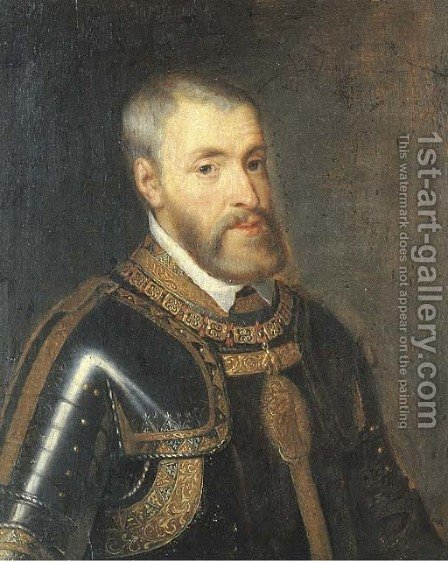 Portrait of the Emperor Charles V (1500-1558) by (after) Tiziano Vecellio (Titian) - Reproduction Oil Painting