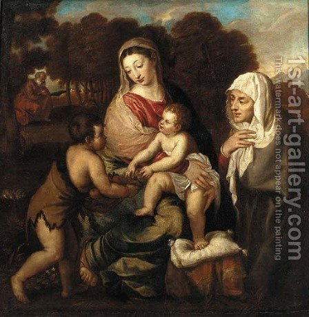 The Holy Family with Saint Elizabeth and the Infant Saint John the Baptist by (after) Tiziano Vecellio (Titian) - Reproduction Oil Painting