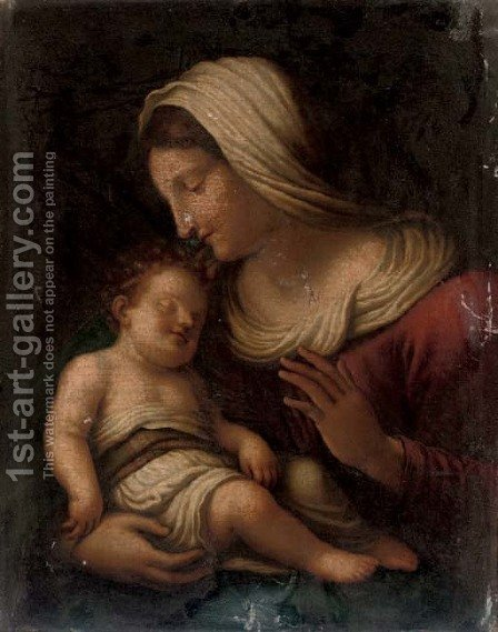 The Madonna and Child 3 by (after) Tiziano Vecellio (Titian) - Reproduction Oil Painting