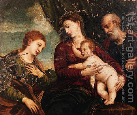 The Mystic Marriage of Saint Catherine by (after) Tiziano Vecellio (Titian) - Reproduction Oil Painting