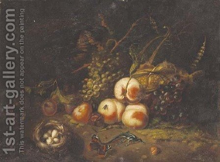 A forest floor still life with peaches by (after) Tommaso Salini (Mao) - Reproduction Oil Painting