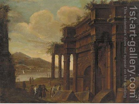 A capriccio of classical ruins with figures conversing by (after) Viviano Codazzi - Reproduction Oil Painting