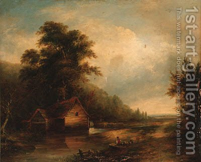An angler by a watermill in a wooded landscape by (after) Walter Williams - Reproduction Oil Painting