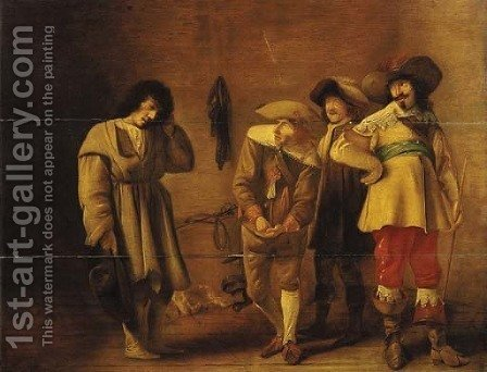 A youth mocked by officers in a guardroom by (after) Willem Cornelisz. Duyster - Reproduction Oil Painting