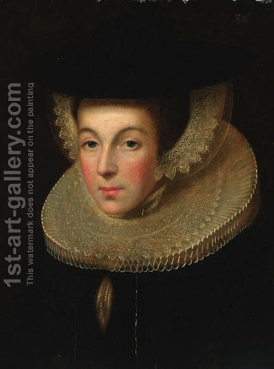 Portrait of a lady, bust-length, in a black dress with a ruff, wearing a black hat by (after) Willem Adriaensz Key - Reproduction Oil Painting