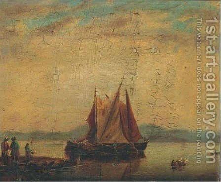 Barges in a calm offshore by (after) Willem Van De Velde - Reproduction Oil Painting