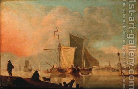 Boats moored in an estuary by (after) Willem Van De, The Younger Velde - Reproduction Oil Painting